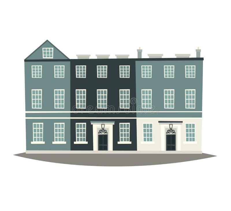 London street landscape vector Illustration. Apartment buildings cartoon icon royalty free illustration