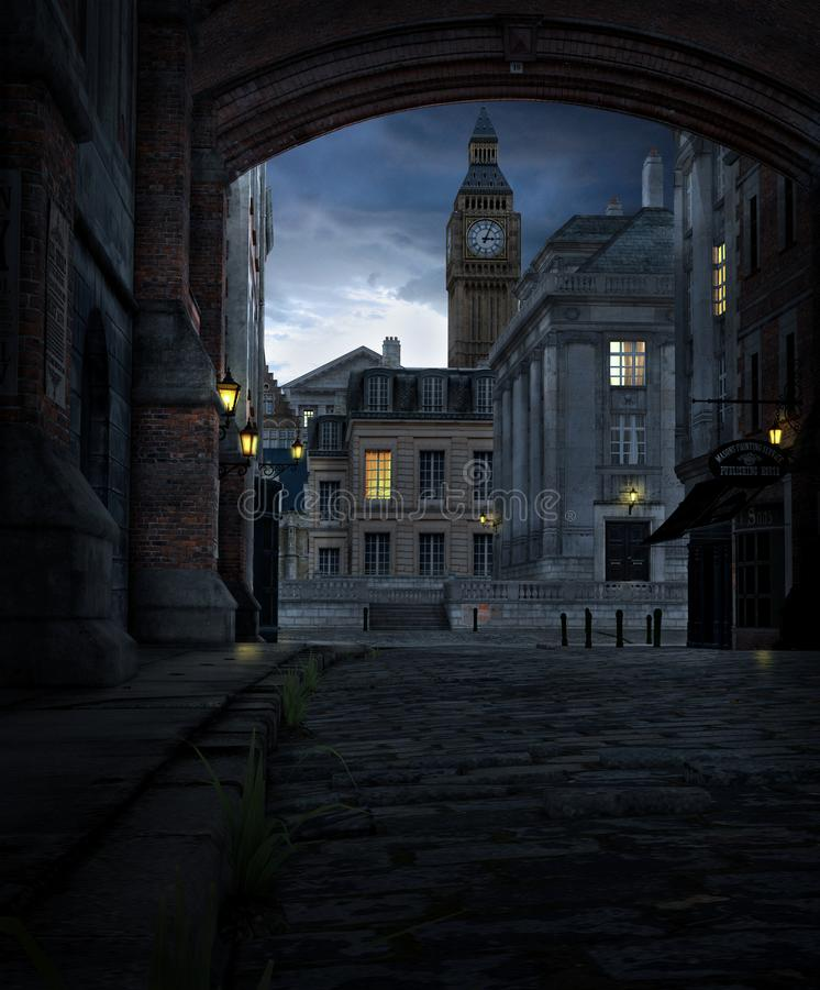 London Street at Night with 19th Century City Buildings royalty free stock image
