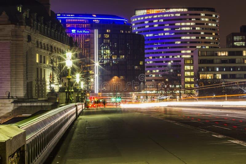 London street view at night stock photo