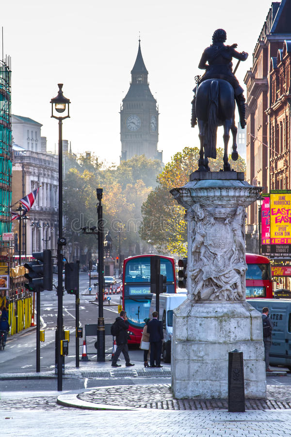 London streets in autumn. With city landmarks. In this photo Big Ben is visible in the far distance stock photo