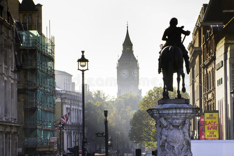 London streets in autumn. With city landmarks. In this photo Big Ben is visible in the far distance stock photos