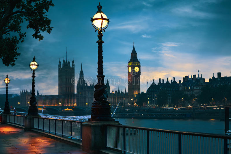London sunset skyline Bigben and Thames stock images