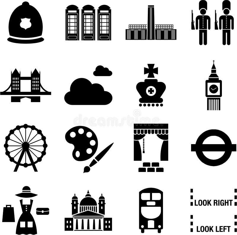 London symboler royaltyfri illustrationer