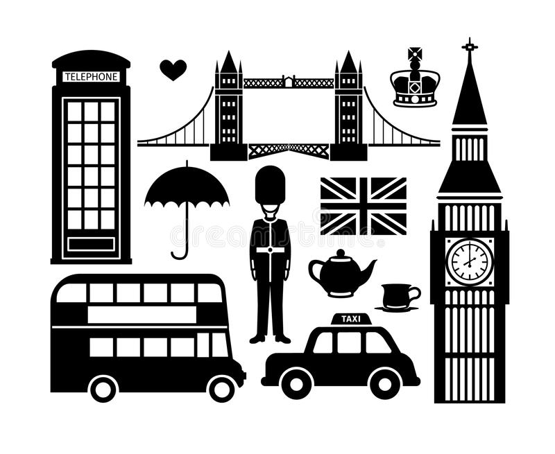 London symboler stock illustrationer