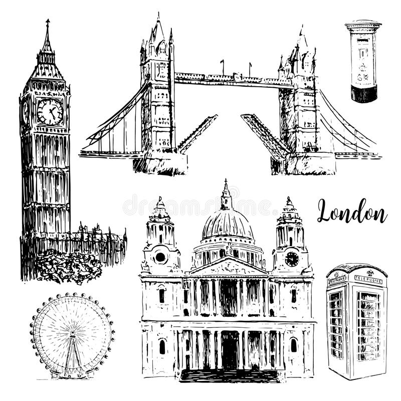 London symboler: St Paul Cathedral, Big Ben och tornbro Den drog härliga handen skissar illustrationen royaltyfri illustrationer