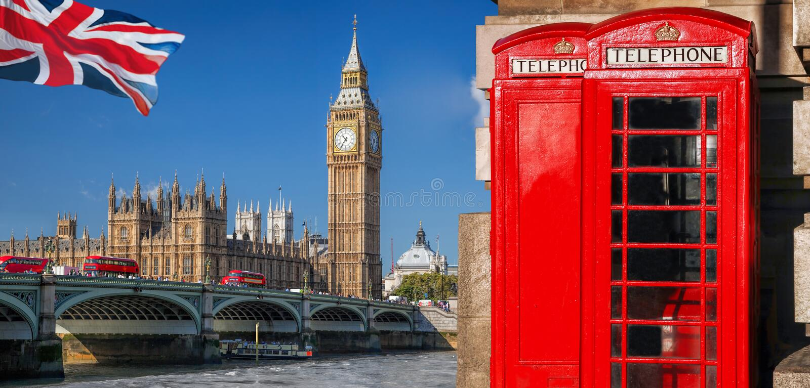 London symbols with BIG BEN, DOUBLE DECKER BUSES and Red Phone Booths in England, UK royalty free stock photo