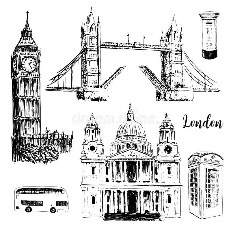 London symbols: St. Paul Cathedral, Big Ben and Tower Bridge. Beautiful hand drawn sketch illustration. vector illustration