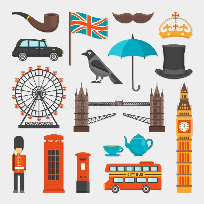 London symbolsuppsättning vektor illustrationer