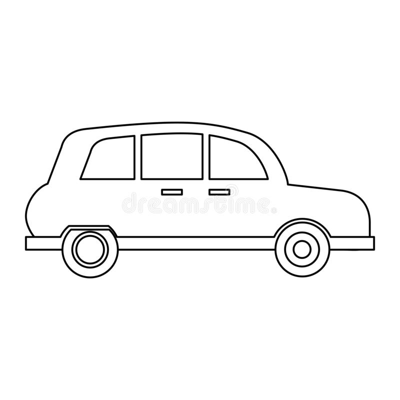 London taxi cab in black and white royalty free illustration