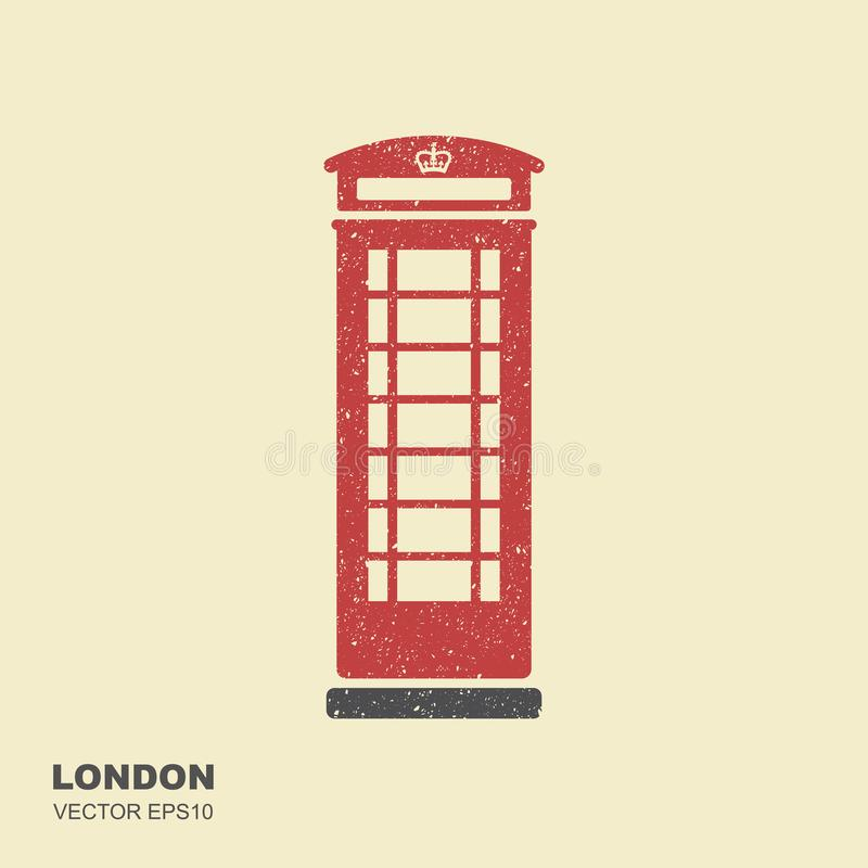 London telephone booth. Flat icon with scuffed effect stock illustration