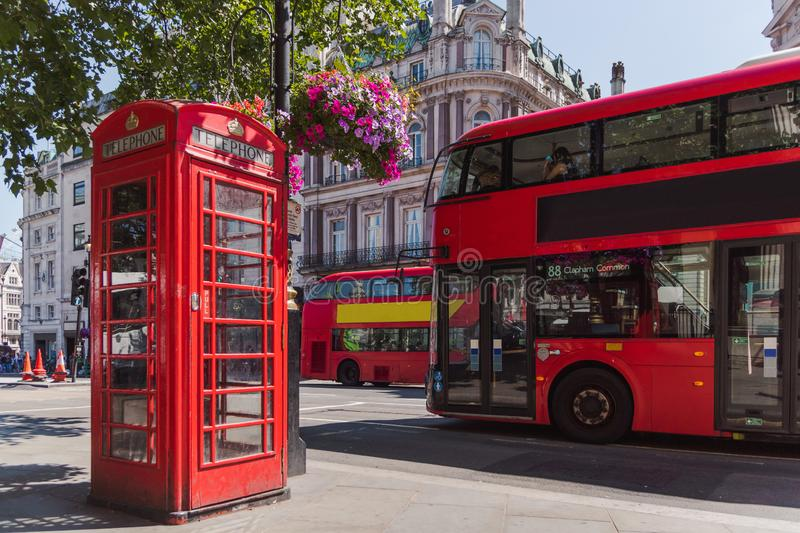London telephone cabin and double decker bus royalty free stock photo