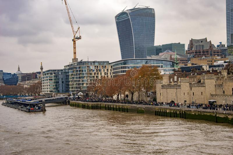 London thames skyline with walkie talkie building. In uk royalty free stock images