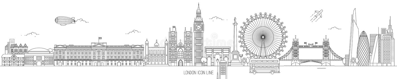 London Thin Line Vector Skyline vector illustration