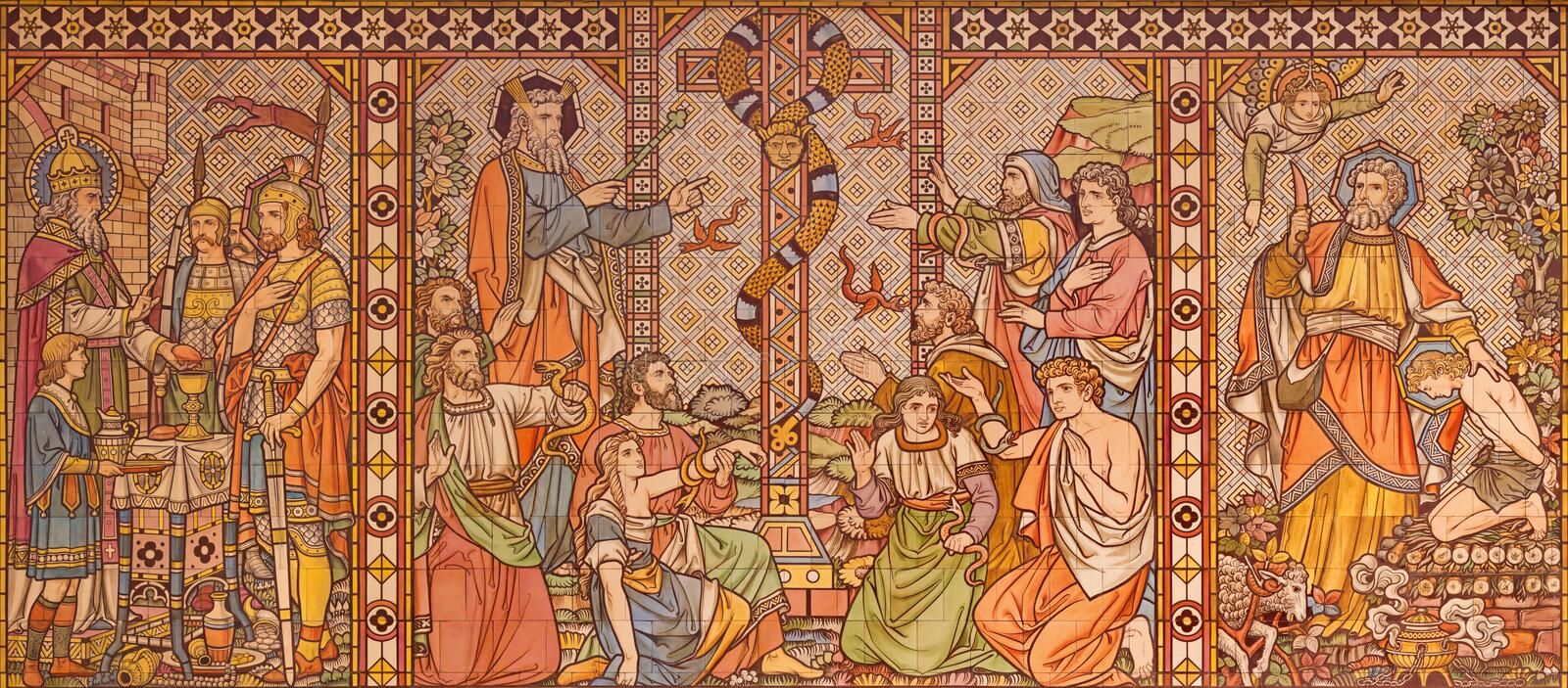 London - The tiled mosaic of Old testament scenes with the patriarchs, Melchizedek, Moses and Abraham in church All Saints. LONDON, GREAT BRITAIN - SEPTEMBER 15 royalty free stock photo