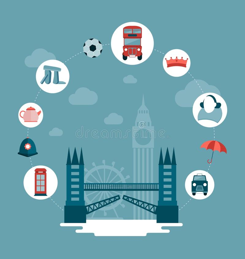 London tornbro och symboler royaltyfri illustrationer