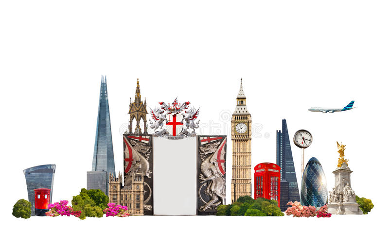 London. Tourist and business collage, London's famous buildings against of white background royalty free stock photo