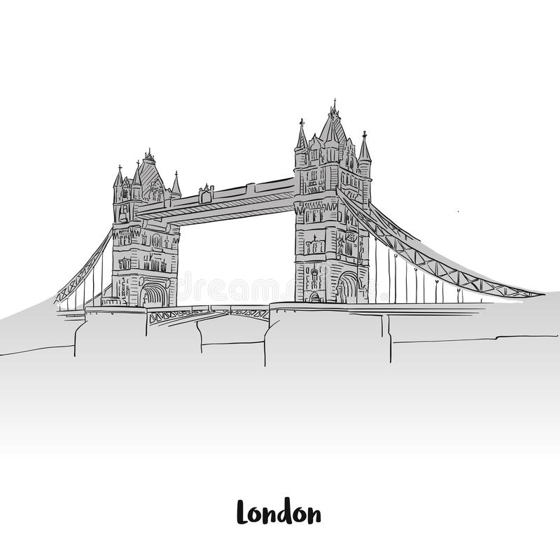 London Tower Bridge Greeting Card. Hand-drawn Vector Outline Sketch royalty free illustration