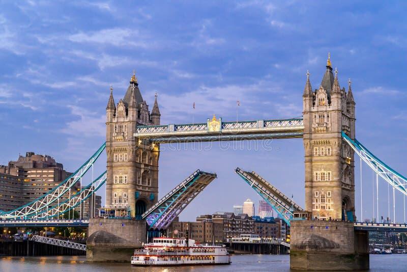 Lifting up London Tower Bridge. London Tower Bridge lifting up at Sunset dusk, London UK stock image
