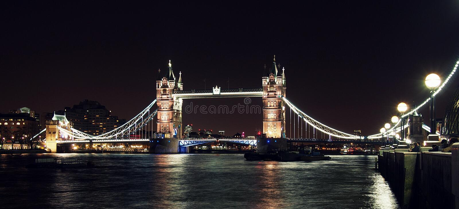 London Tower bridge at night from South bank royalty free stock photography