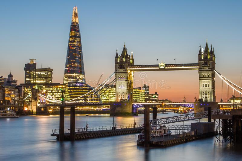 London Tower Bridge and The Shard royalty free stock image
