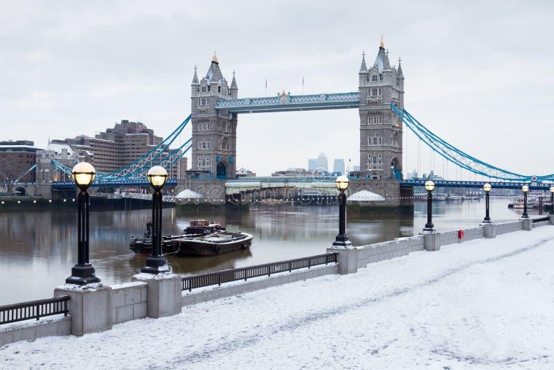 London tower bridge with snow royalty free stock image
