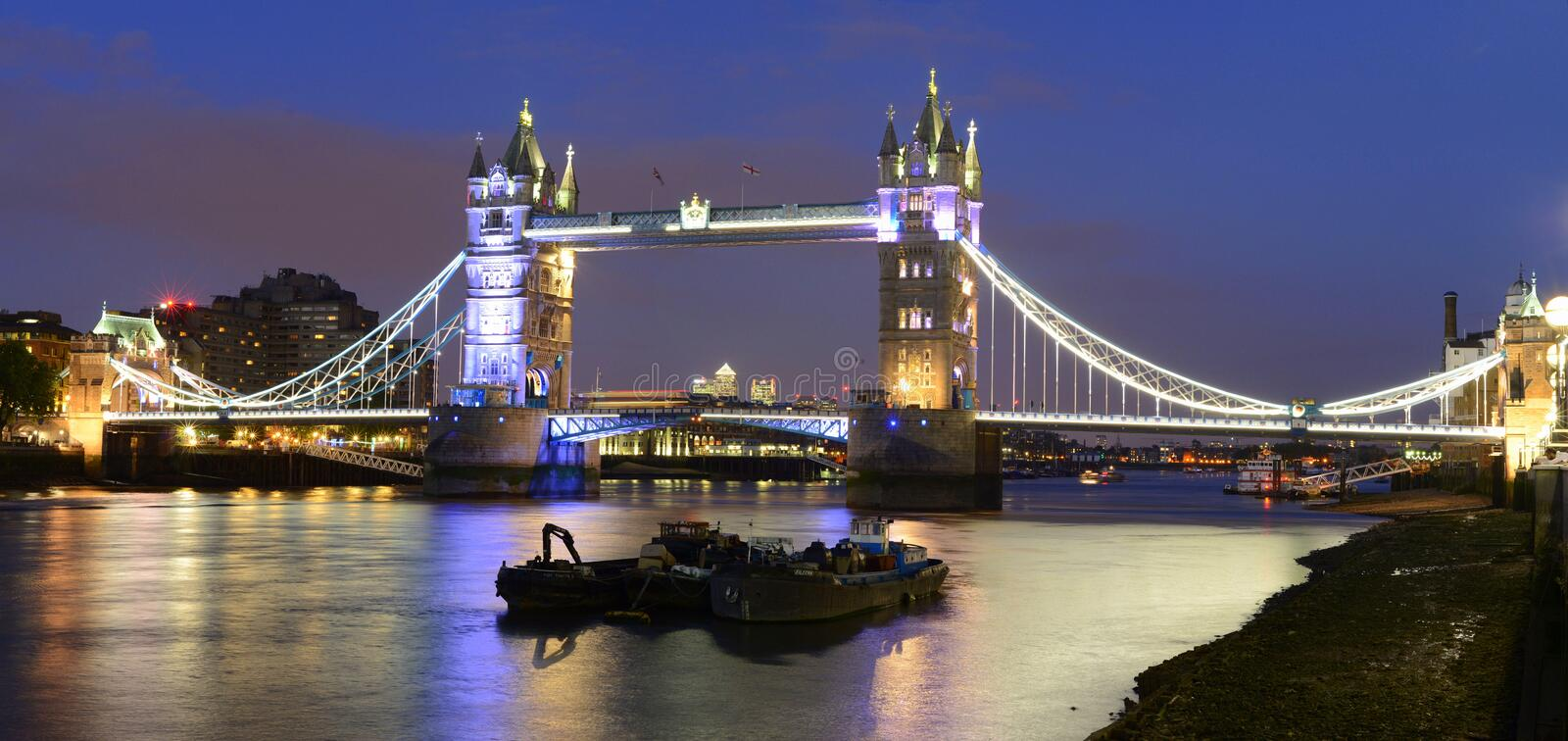 London tower bridge and Thames river night scene stock images