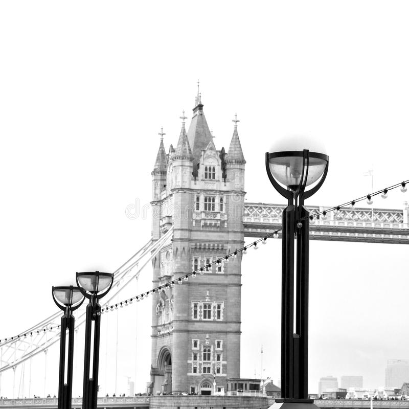London tower in england old bridge and the cloudy sky royalty free stock photo