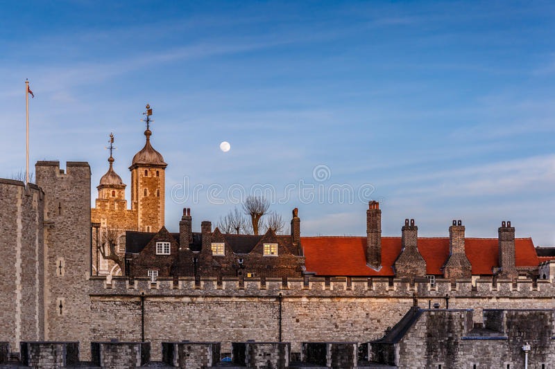 London Tower in the evening. Sunset royalty free stock image