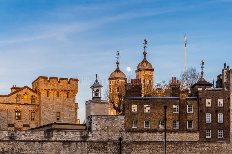 London Tower in the evening. Sunset stock photography