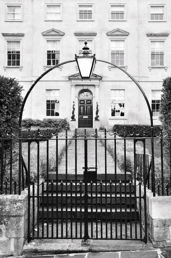 London Town House. Exterior of a London Town House in Black and White stock image