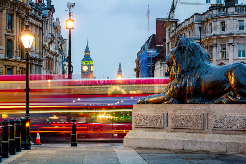 London Trafalgar Square lion and Big Ben tower at background, Lo. Ndon, UK royalty free stock photo