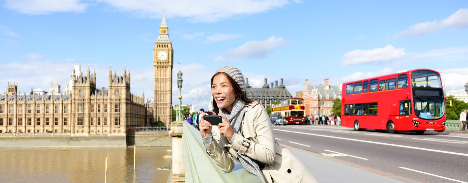 London travel banner - woman and Big Ben royalty free stock photos