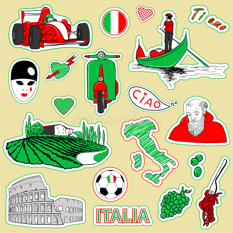 London travel icons. Set of the doodle sketches. Italy travel icons vector illustration