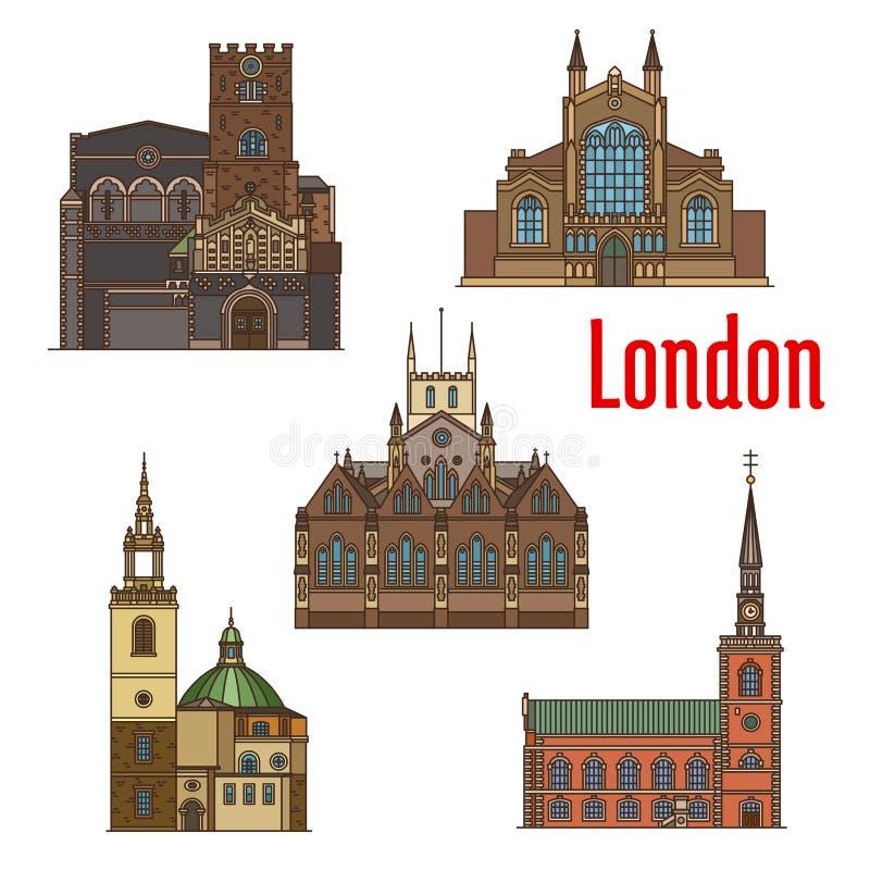 London travel landmark of british church icon set stock illustration