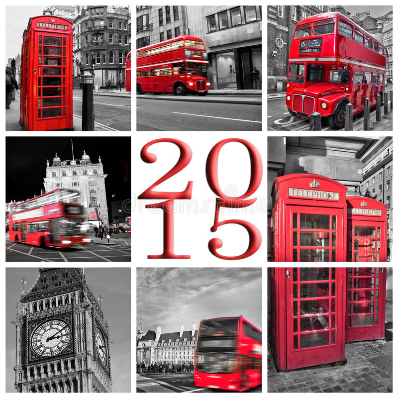 2015, London travel photos collage stock images