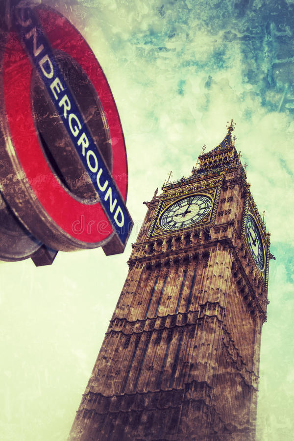 London tunnelbana och Big Ben royaltyfri foto
