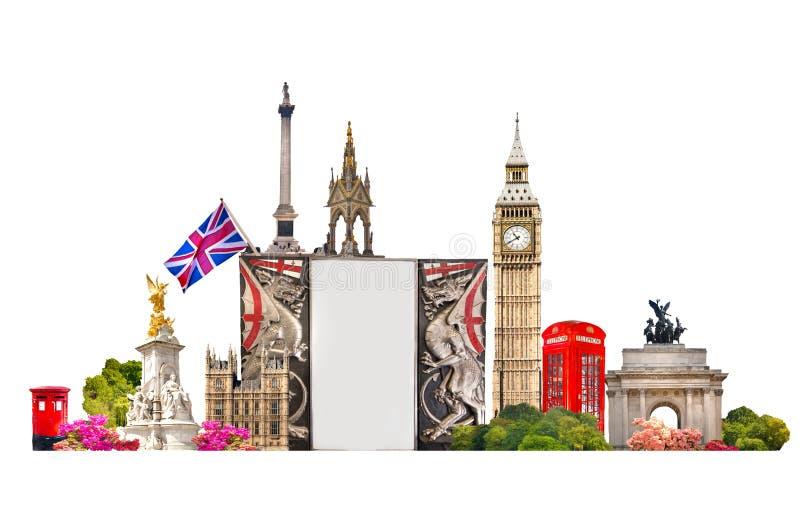 London Turist och affärscollage, London berömda byggnader royaltyfria bilder