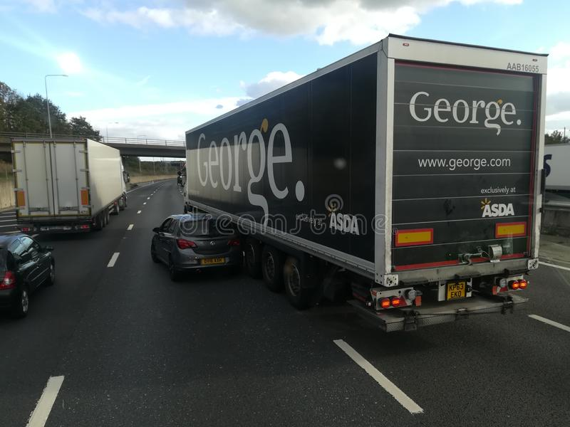 LONDON, U.K. 10-18-2018: Truck and Car accident on the road M25 in London, UK. royalty free stock photography