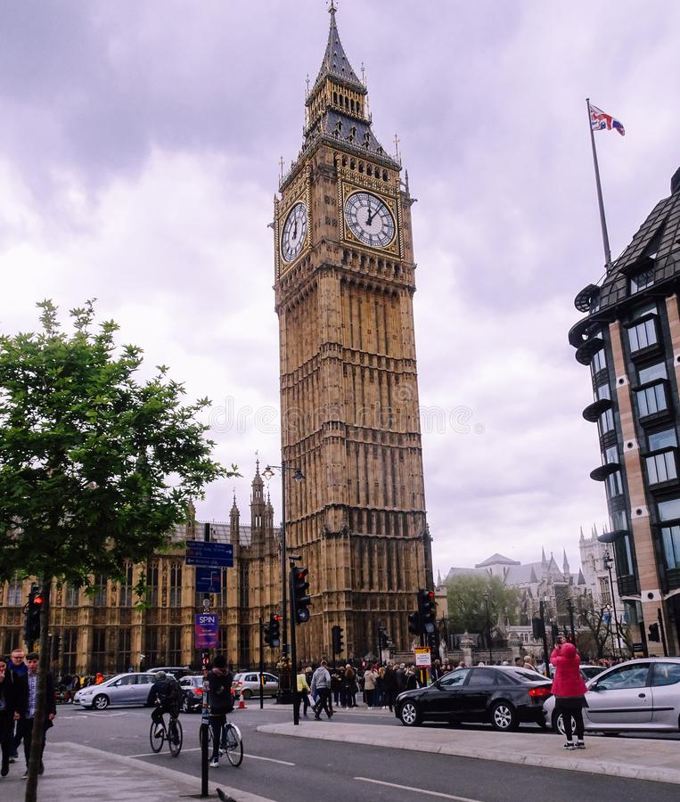 London, UK ; Apr, 30, 2018; Big ben clock tower. Bridge, touristic, city, history, attraction, outdoors, sunny, building, blue, westminster, day, historical stock photography
