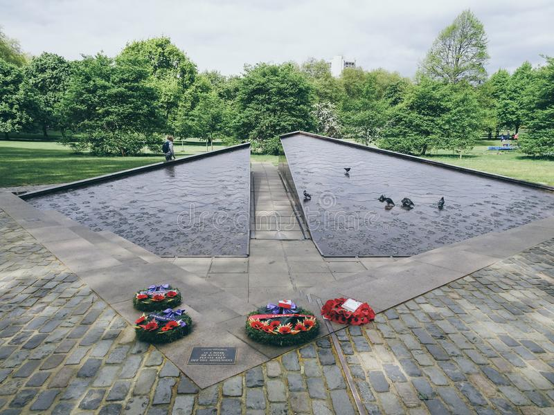 London, UK ; Apr, 30, 2018; The Canada Memorial was unveiled by the Queen in 1994 and remembers the one million Canadians who. Served with British forces stock photos