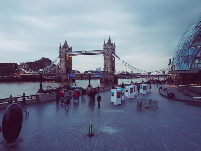 London, UK ; Apr, 30, 2018; Tower Bridge in London, UK. Thames, modern, architecture, sky, landmark, touristic, famous, city, kingdom, water, sights royalty free stock images