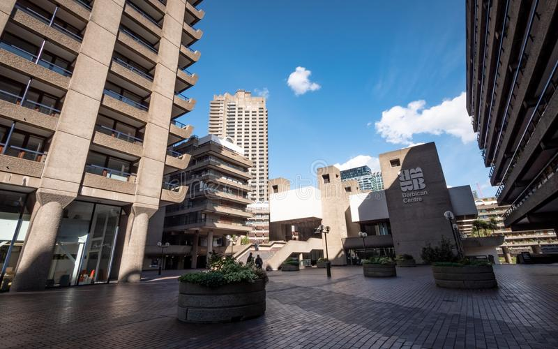The Barbican Centre, London, UK. The Brutalist concrete architecture of The Barbican, a performing arts centre and residential d royalty free stock photos