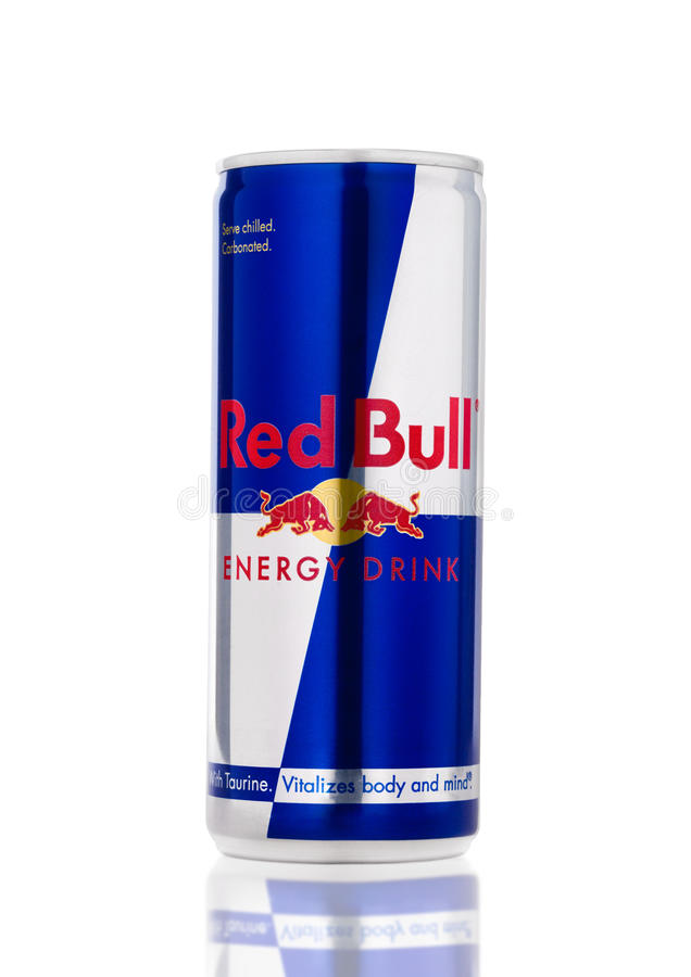 LONDON, UK - APRIL 12, 2017: Can of Red Bull Energy Drink on white background. Red Bull is the most popular energy drink in the wo. LONDON, UK - APRIL 12, 2017 stock photo