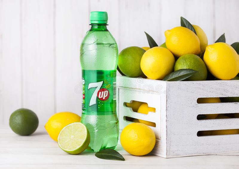 LONDON, UK - APRIL 27, 2018: Plastic bottle of 7UP lemonade soda. Drink with fresh lemons and limes.This refreshment drink produce Pepsi company stock photos