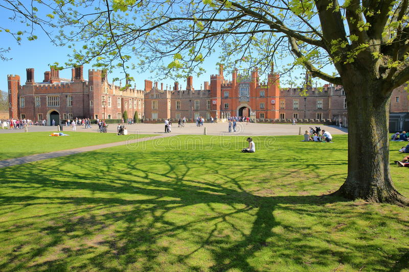 LONDON, UK - APRIL 9, 2017: The West front and main entrance of Hampton Court Palace in Southwest London stock photography