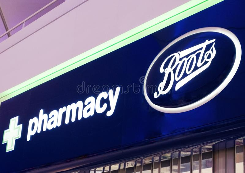 LONDON, UK - AUGUST 31, 2018: Boots and Pharmacy display in shopping centre. stock image