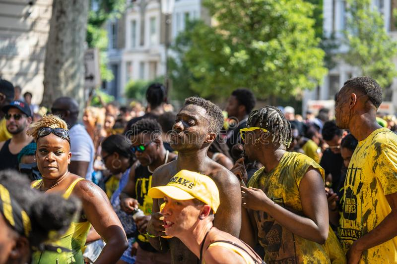London, UK ,August 25, 2019.Caribbean colour comes to west London as Notting Hill Carnival gets into full swing with hundreds of. Thousands joining the throng stock images