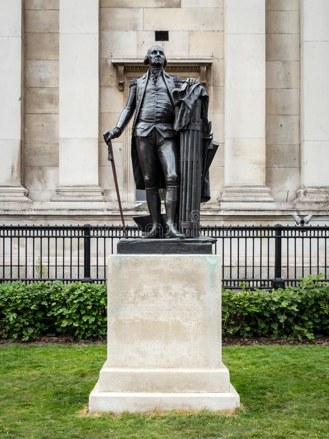 George Washington statue, Trafalgar Square, London. LONDON, UK - 29 AUGUST 2017: A full length statue of one of America`s most famous founding fathers, George royalty free stock photo