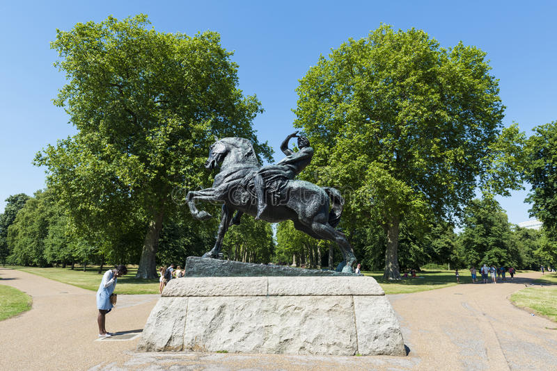 LONDON, UK - AUGUST 01: Horse and rider sculpture called Physical Energy in Kensington Gardens. The statue commemorates Sir Cecil. Rhodes, founder of Rhodesia royalty free stock images