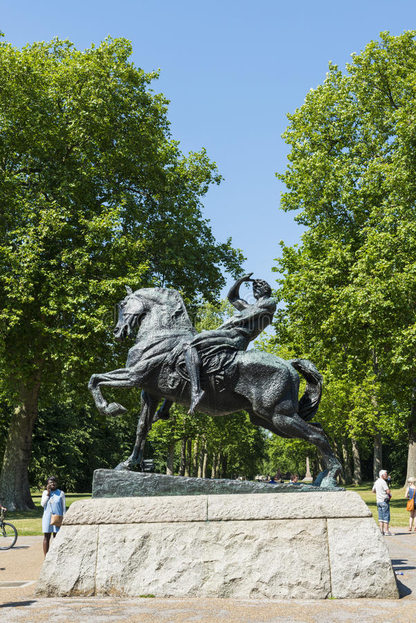 LONDON, UK - AUGUST 01: Horse and rider sculpture called Physical Energy in Kensington Gardens. The statue commemorates Sir Cecil. Rhodes, founder of Rhodesia royalty free stock image